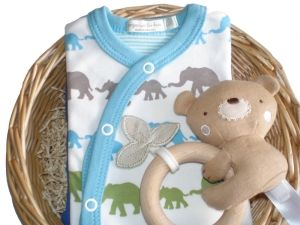 Bunny Rabbit Boy Baby Gift Basket by Mulberry Organics